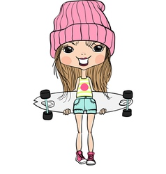 Cute hipster fashion girl with skateboard vector
