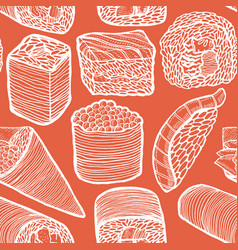 dark sushi pattern in hand-drawn style vector image