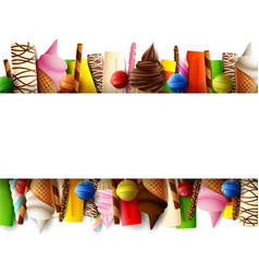 different sweet food border vector image