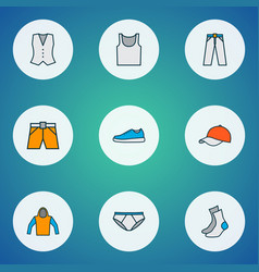 dress icons colored line set with pants singlet vector image