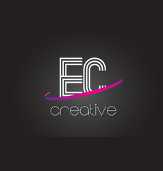 Ec e c letter logo with lines design and purple vector