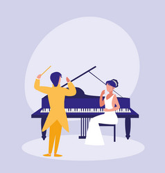 elegant couple playing piano avatar character vector image