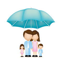 family together with umbrella icon vector image