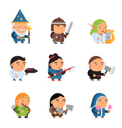 fantasy characters 2d game sprite male and female vector image