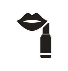 Flat icon in black and white lipstick lips vector
