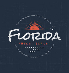 Florida miami beach t-shirt and apparel design vector