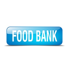 Food bank blue square 3d realistic isolated web vector