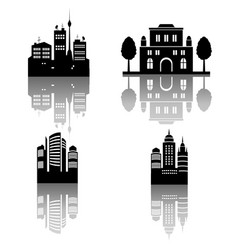 Four city silhouettes with reflections vector