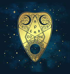 gold divination board planchette over the blue sky vector image