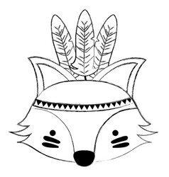 Grunge cute fox head animal with feathers vector