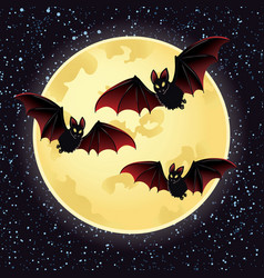halloween night with bats flying over moon vector image