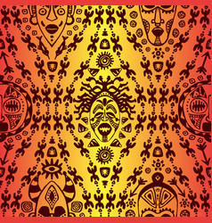 hand drawn seamless pattern with tribal mask vector image