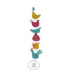 Happy easter greeting card with chickens vector