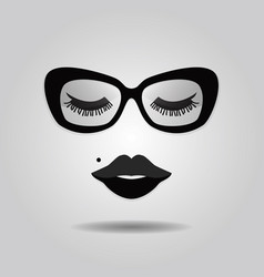 Hipster lady lips and sunglasses with closed eyes vector