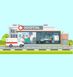 Hospital and ambulance flat vector