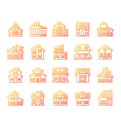 house simple color line icons exterior set vector image