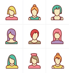 Icons Style Woman Icons Set Design vector image