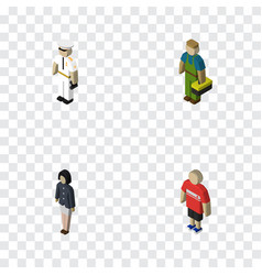 Isometric people set of seaman plumber girl and vector