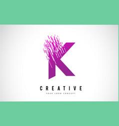 K letter logo design with purple colors vector