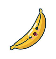 Kawaii banana fruits icon vector