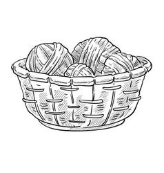 Knitting items woolen thread balls in basket vector