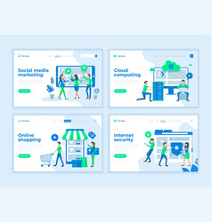 landing page templates concept with cartoon office vector image