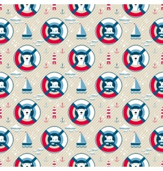 Lifebuoy seamless pattern with bear vector