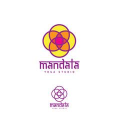 Logo mandala yoga studio vector