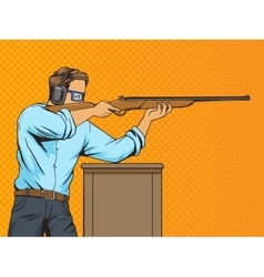 Man with rifle at shooting range pop art vector