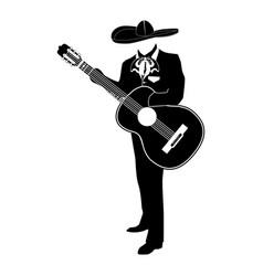 Mariachi musician with guitar vector