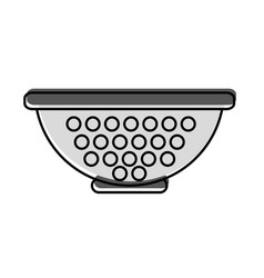 Metal kitchen strainer icon vector