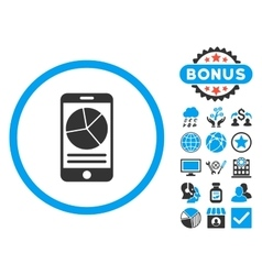 Mobile Report Flat Icon with Bonus vector image