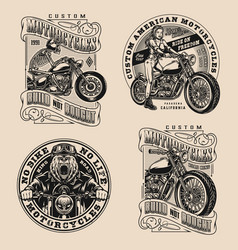 Motorcycle vintage designs composition vector