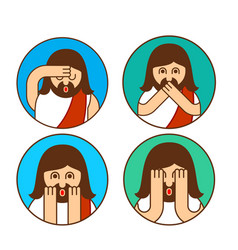 oh my god jesus emotion set omg christos emoji vector image