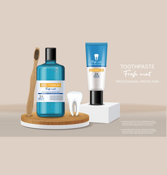 Organic toothpaste and mouthwash on stage vector