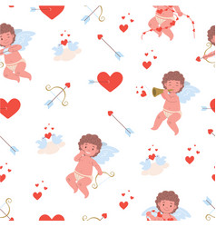 Pattern with flying funny cupids vector