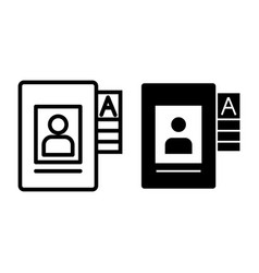 Personal data file line and glyph icon document vector