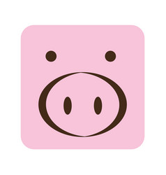 Pink square pig animal face expression vector