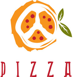 pizza in peace symbol form design template vector image