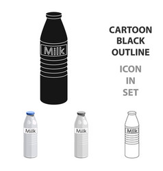 Plastic milk bottle icon in cartoon style isolated vector