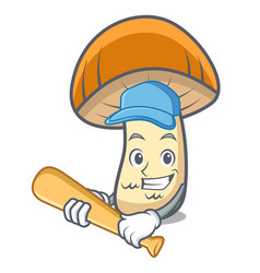 Playing baseball orange cap boletus mushroom vector
