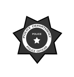 Police badge with star in flat style vector