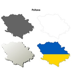 Poltava blank outline map set vector