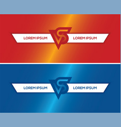 Red and blue horizontal banners with vs letters vector
