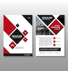 Red black square annual report Leaflet Brochure vector image