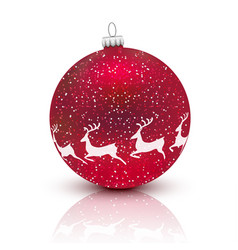 red christmas ball with deer isolated on white vector image