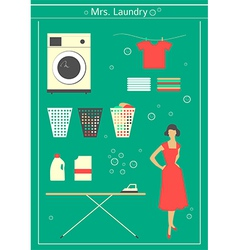 Retro laundry set vector