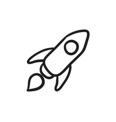 Rocket sketch icon vector