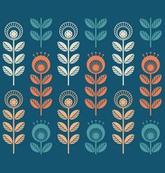 Scandinavian folk style flowers seamless pattern vector