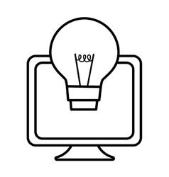 Screen computer equipment bulb idea line vector